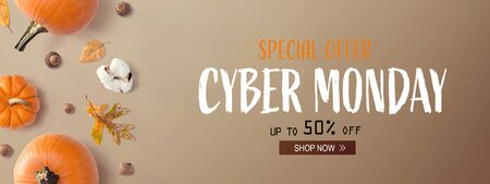 Cyber Monday banner with autumn pumpkins with leaves Zdjęcie Seryjne