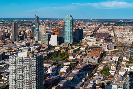 Aerial view of Brooklyn, New York in the summer