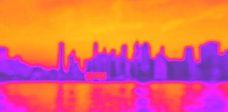 Defocused view of the New York skyline from Brooklyn Bridge Park synth wave style