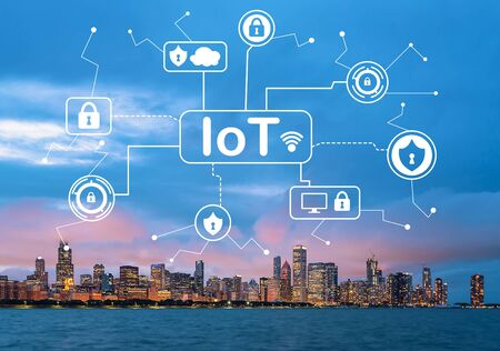 IoT security theme with downtown Chicago cityscape skyline with Lake Michigan