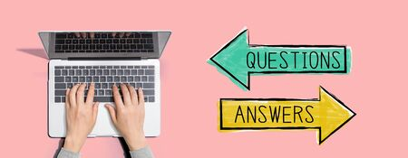 Questions and answers with person using a laptop computer 스톡 콘텐츠