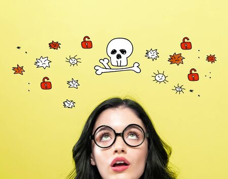 Virus and scam theme with young woman wearing eye glasses