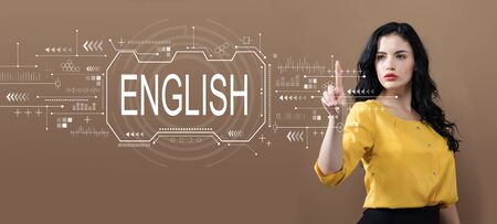 English concept with business woman on a brown