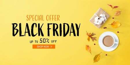 Black Friday banner with autumn theme with coffee and gift box
