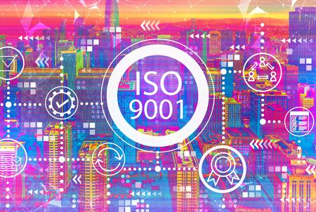 ISO 9001 concept with downtown San Francisco skyline buildings