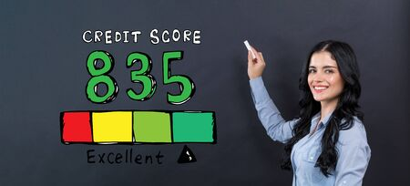 Excellent credit score theme with young woman writing on a blackboard