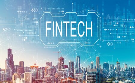 Fintech concept with downtown Chicago cityscape skyscrapers Imagens