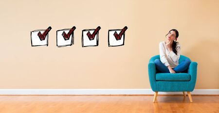 Checklist with woman in a thoughtful pose in a chair