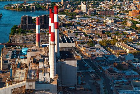 Aerial view of a power plant station in New York City 版權商用圖片