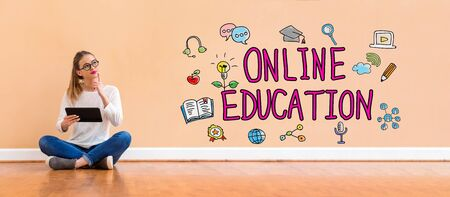 Online education with young woman holding a tablet computer