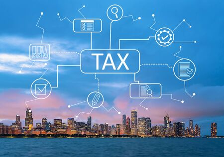 Tax theme with downtown Chicago cityscape skyline with Lake Michigan
