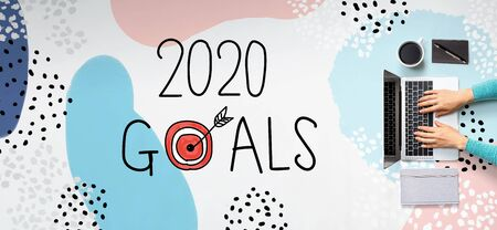 2020 goals concept with person using a laptop computer