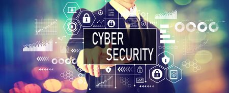 Cyber security theme with a businessman on a shiny background
