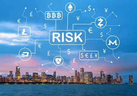 Cryptocurrency risk theme with downtown Chicago cityscape skyline with Lake Michigan