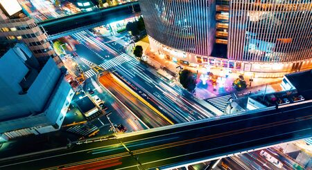Aerial view of a busy section of Ginza, Tokyo, Japan at night