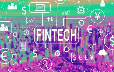 Fintech theme with aerial view of central park and midtown Manhattan Stock Photo