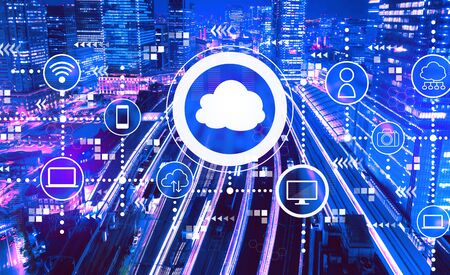 Cloud computing with aerial view of a large train station in Tokyo, Japan Stock fotó