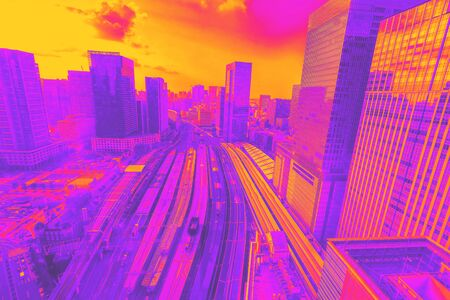 Aerial view of Tokyo Station at sunset synth wave style