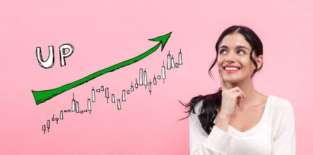 Market up trend chart with young woman in thoughtful pose