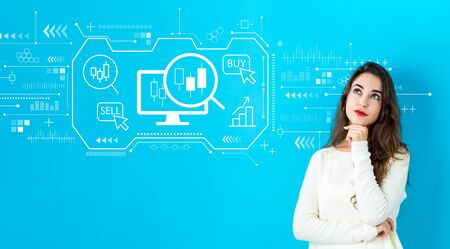 Stock trading concept with young woman in a thoughtful face