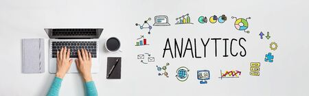 Analytics with person using a laptop computer