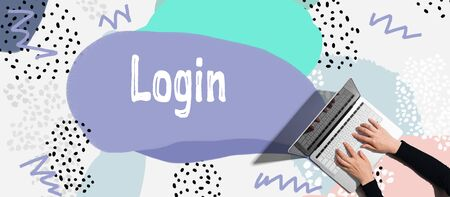 Login concept with person using a laptop computer