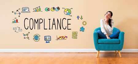Compliance concept with woman in a thoughtful pose in a chair