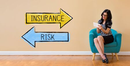 Insurance or risk with young woman using a tablet computer
