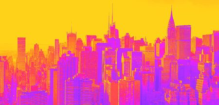 Aerial view of the New York City skyline near Midtown synth wave style