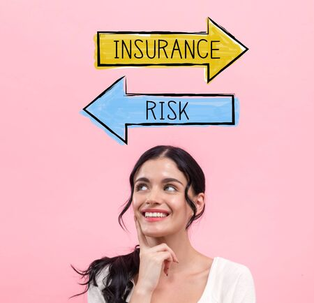 Insurance or risk with young woman in thoughtful pose