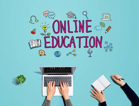 Online education with people working together with laptop and notebook