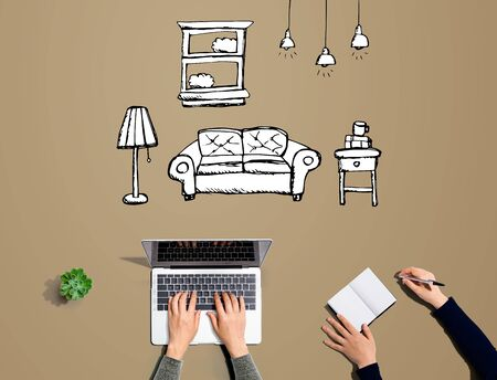 New apartment dream with people working together with laptop and notebook Stock fotó