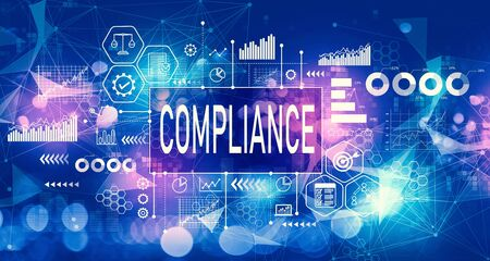 Compliance concept with technology blurred abstract light background Reklamní fotografie