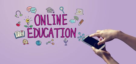 Online education with person holding a white smartphone Stock fotó