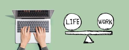 Life and work balance with person using a laptop computer