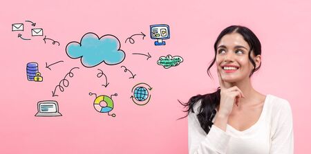 Cloud computing with young woman in thoughtful pose