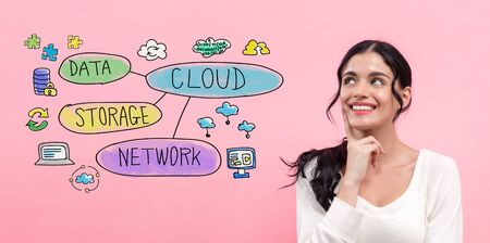 Cloud computing flowchart with young woman in thoughtful pose
