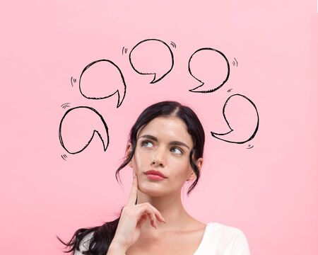Speech bubbles with young woman in thoughtful pose
