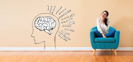 Brain illustration with woman in a thoughtful pose in a chair