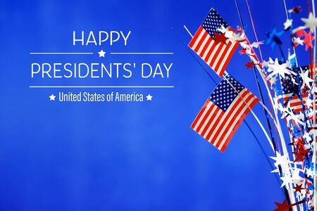 Presidents day message with flag of the United States Stock Photo