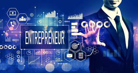 Entrepreneur concept with businessman on blurred blue light background