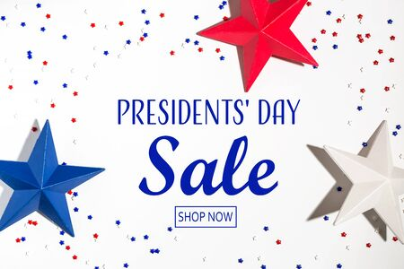 Presidents day sale message with red and blue star decorations 版權商用圖片 - 138262989