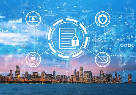 Data protection concept with downtown Chicago cityscape skyline with Lake Michigan