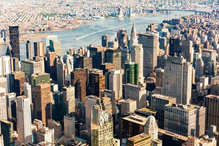 NEW YORK - JULY 02 2016: Aerial view of the Manhattan skyline, New York City Redakční