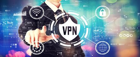 VPN concept with a businessman on a shiny background