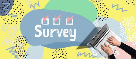 Survey with person using a laptop computer