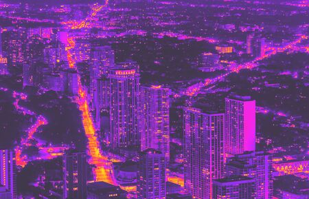 Chicago cityscape and streets at night aerial view synth wave style