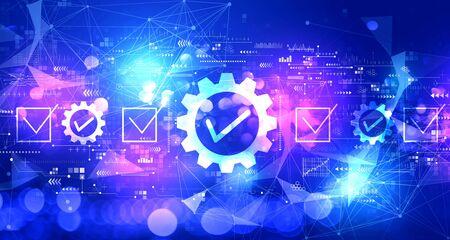 Approbation du contrôle de la qualité avec un fond clair abstrait flou de technologie