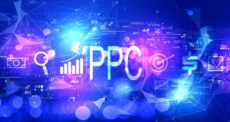 PPC - Pay per click concept with technology blurred abstract light background