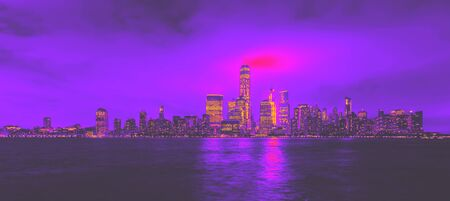Lower Manhattan skyline and the Hudson river as seen from Jersey City synth wave style